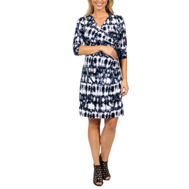 24/7 Comfort Apparel On Trend And Timeless Wrap Dress-Plus Maternity