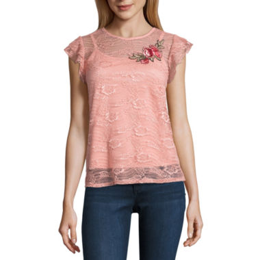 by&by Short Sleeve Round Neck Lace Blouse-Juniors