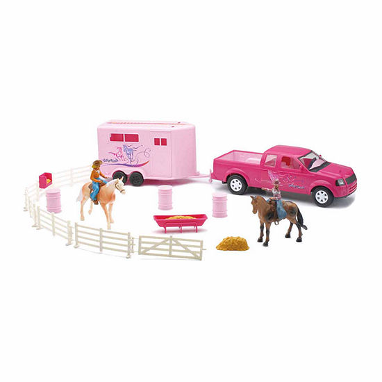 New Ray Pink Pick Up Truck And Horse Trailer Set