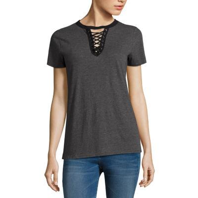 Arizona Short Sleeve Lace Up T-Shirt- Juniors