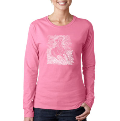 Los Angeles Pop Art Popular Horse Breeds Long Sleeve Graphic T-Shirt