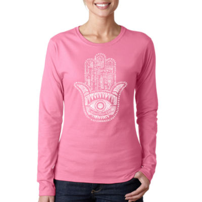 Los Angeles Pop Art Hamsa Long Sleeve Graphic T-Shirt