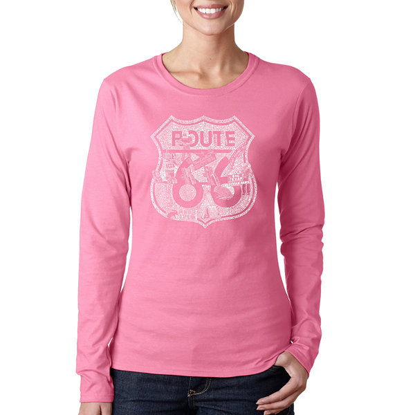 Los Angeles Pop Art Stops Along Route 66 Women's Long Sleeve Word Art Graphic T-Shirt