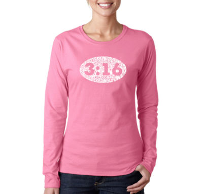 Los Angeles Pop Art John 3:16 Women's Long SleeveWord Art Graphic T-Shirt