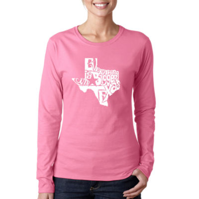 Los Angeles Pop Art Everything Is Bigger In Texas Long Sleeve Graphic T-Shirt