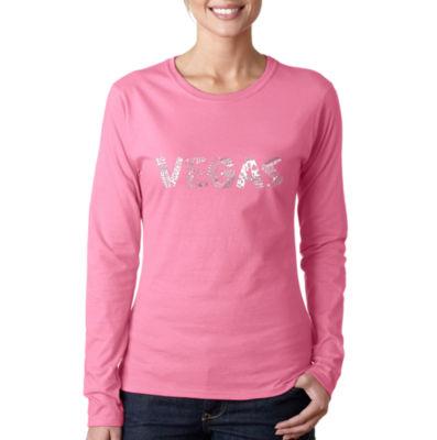 Los Angeles Pop Art Vegas Womens Long Sleeve Graphic T-Shirt