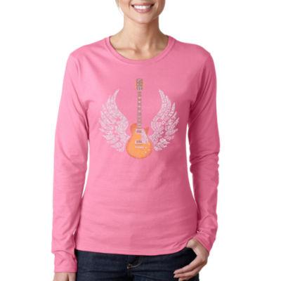Los Angeles Pop Art Lyrics To Freebird Women's Long Sleeve Word Art Graphic T-Shirt