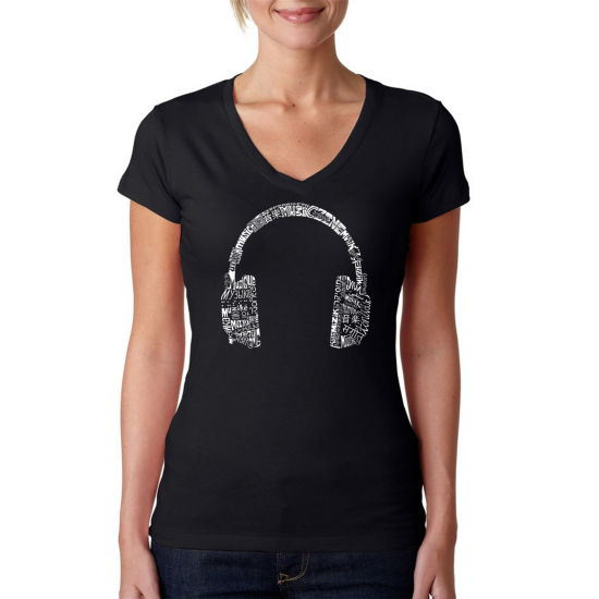 Los Angeles Pop Art Headphones - Languages Graphic T-Shirt