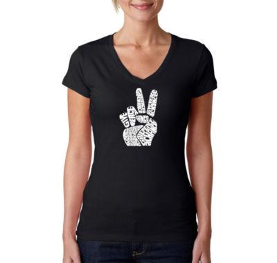 Los Angeles Pop Art Peace Fingers Graphic T-Shirt