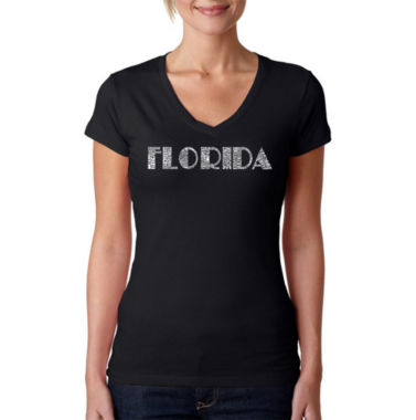 Los Angeles Pop Art Popular Cities In Florida Graphic T-Shirt