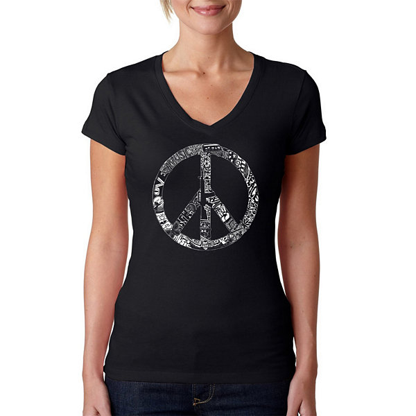 Los Angeles Pop Art Peace Love & Music Graphic T-Shirt