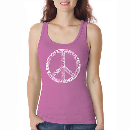 Los Angeles Pop Art The Word Peace In 77 Languages Tank Top