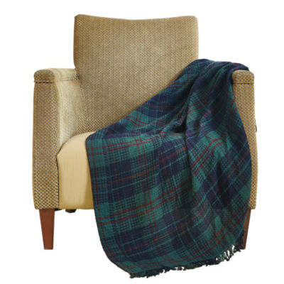Orient Home Collection Oversize Waffle Weave Cotton Plaid Throw