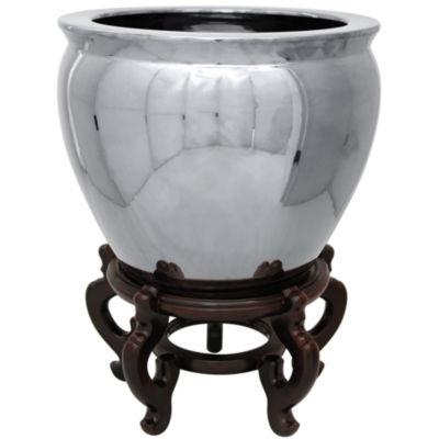"Oriental Furniture 14"" Pure Silver Porcelain Planter"