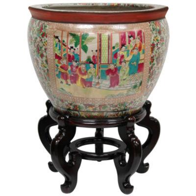 """Oriental Furniture 14"""" Rose Medallion Porcelain Planter"""