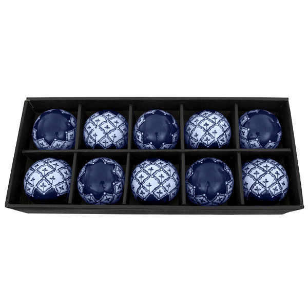 "Oriental Furniture 3"" Blue & White Medallions Porcelain Decorative Balls"