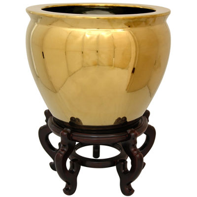 "Oriental Furniture 14"" Solid Gold Porcelain Planter"
