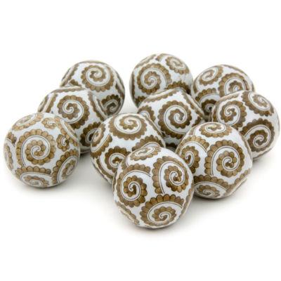 "Oriental Furniture 3"" Golden Spirals Porcelain Decorative Balls"