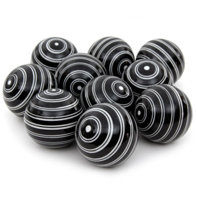 "Oriental Furniture 3"" White Double Stripes Porcelain Decorative Balls"