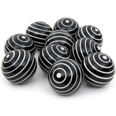 "Oriental Furniture 3"" White Stripes Porcelain Decorative Balls"