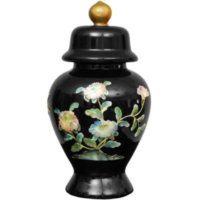 "Oriental Furniture 11"" Black Birds And Flowers Vase"