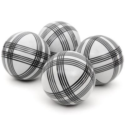 "Oriental Furniture 4"" Black Stripes Porcelain Decorative Balls"