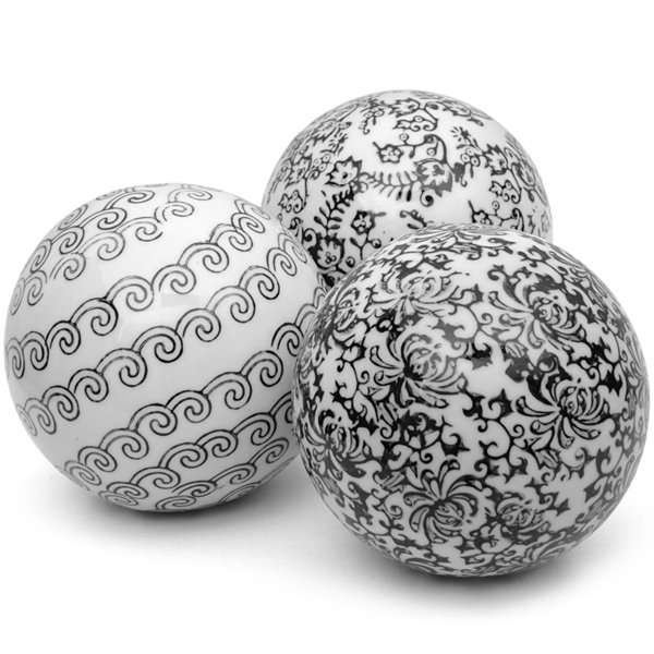 "Black Decorative Balls Amazing Oriental Furniture 4"" Black & White Decorative Porcelain Inspiration Design"