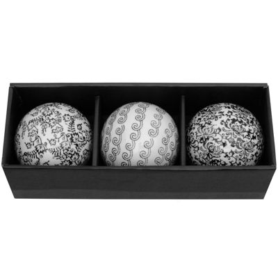 "Oriental Furniture 4"" Black & White Decorative Porcelain Decorative Balls"
