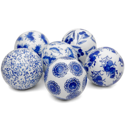 "Oriental Furniture 4"" Blue & White Decorative Porcelain Decorative Balls"