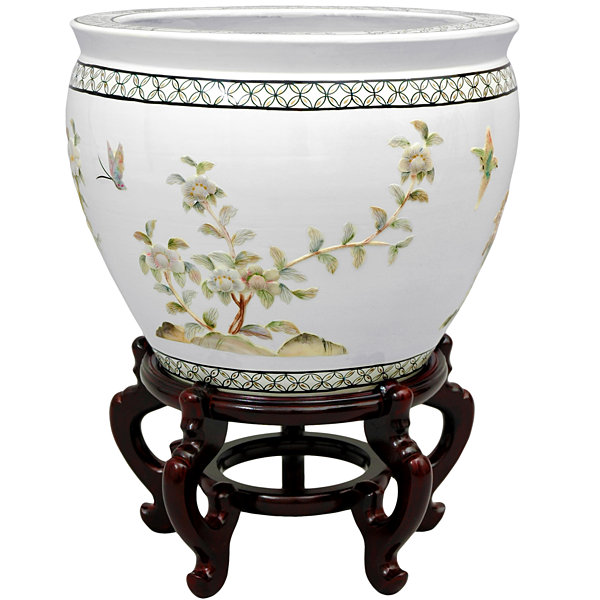 "Oriental Furniture 16"" White Birds & Flowers Planter"