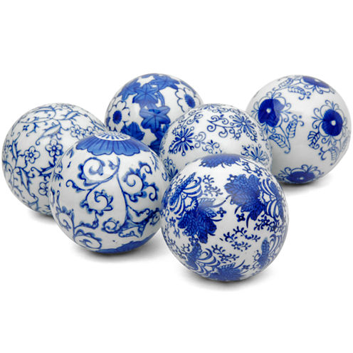 "Oriental Furniture 3"" Blue & White Decorative Porcelain Decorative Balls"