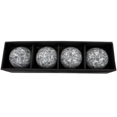 "Oriental Furniture 4"" Black & White Vines Porcelain Decorative Balls"