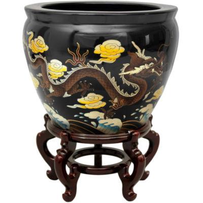 "Oriental Furniture 16"" Black Dragons Planter"
