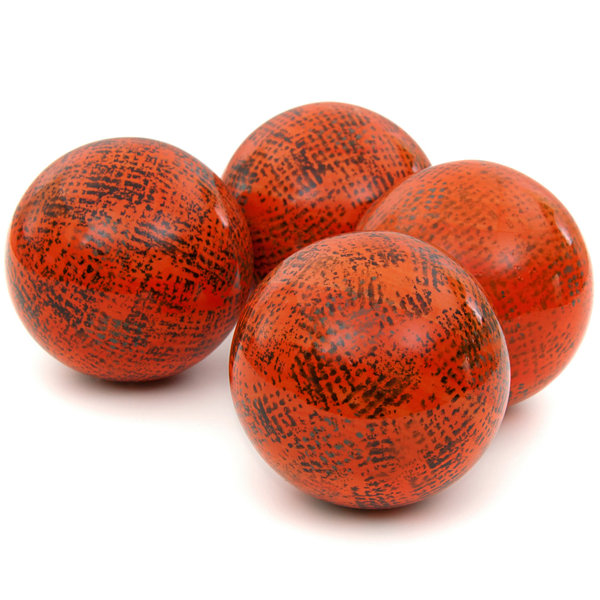 "Oriental Furniture 4"" Sponged Dark Orange Porcelain Decorative Balls"