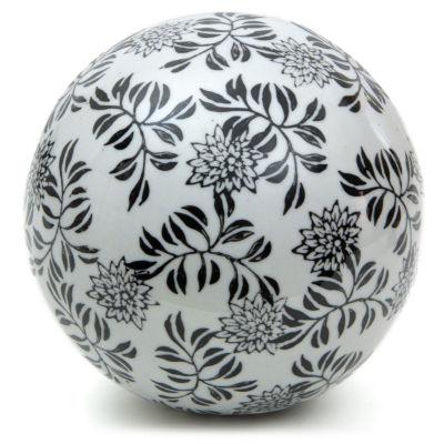 "Oriental Furniture 6"" Porcelain Black Vines Decorative Balls"
