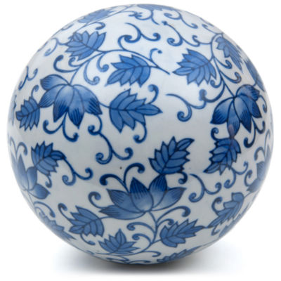 "Oriental Furniture 6"" Porcelain Blue Leaves Decorative Balls"