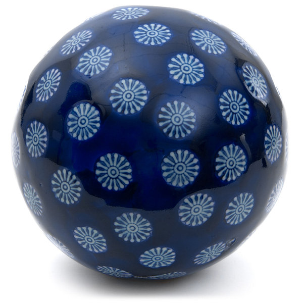 "Oriental Furniture 6"" Porcelain Blue With White Stars Decorative Balls"