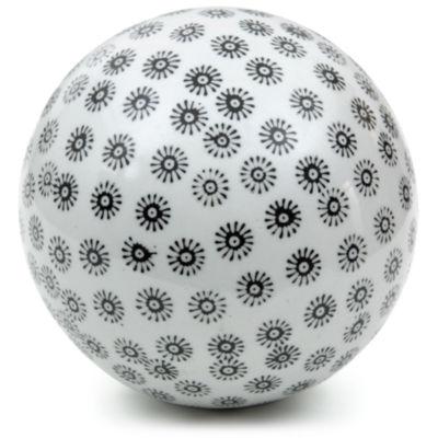 "Oriental Furniture 6"" Porcelain White With Black Stars Decorative Balls"