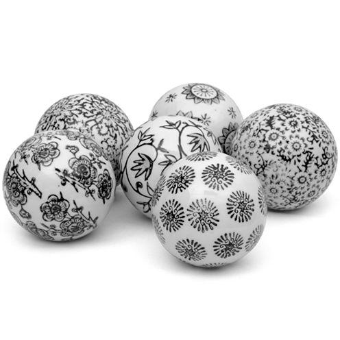 "Oriental Furniture 3"" Black & White Decorative Porcelain Decorative Balls"