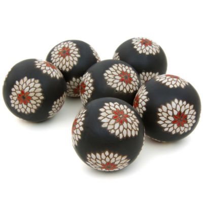 "Oriental Furniture 3"" White Flowers Porcelain Decorative Balls"