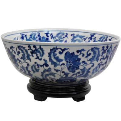 "Oriental Furniture 14"" Floral Blue & White Porcelain Decorative Bowl"