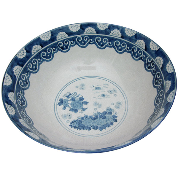 "Oriental Furniture 14"" Ladies Blue & White Porcelain Decorative Bowl"