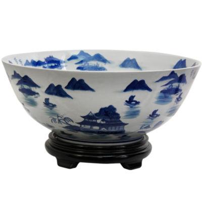 """Oriental Furniture 14"""" Landscape Blue & White Porcelain Decorative Bowl"""