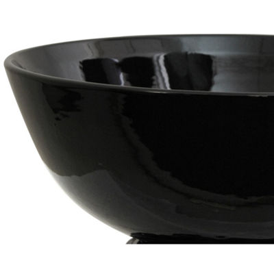 "Oriental Furniture 14"" Solid Black Porcelain Decorative Bowl"