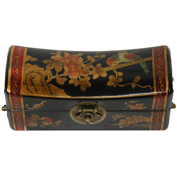 Oriental Furniture Lacquer Flowers Decorative Box