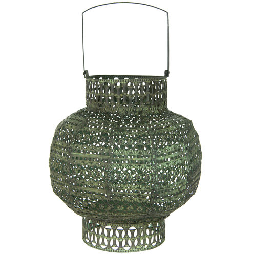 Oriental Furniture Antiqued Wrought Iron Decorative Lantern