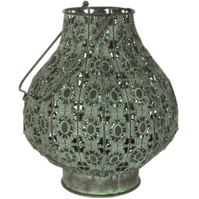 Oriental Furniture Fluted Wrought Iron Decorative Lantern