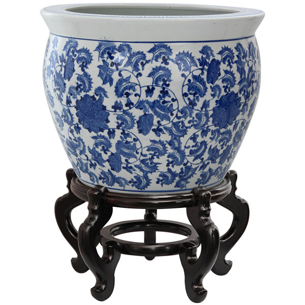 "Oriental Furniture 16"" Floral Blue & White Porcelain Planter"