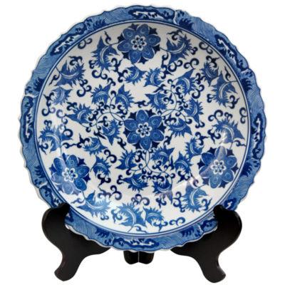 "Oriental Furniture 14"" Floral Blue & White Porcelain Decorative Plate"