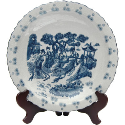 "Oriental Furniture 14"" Ladies Blue & White Porcelain Decorative Plate"